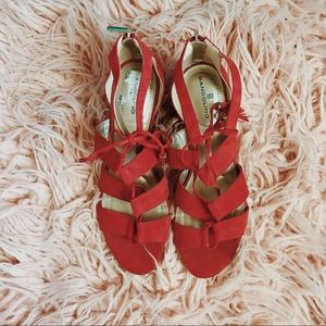 Red, Strappy, 2 in. Wedges